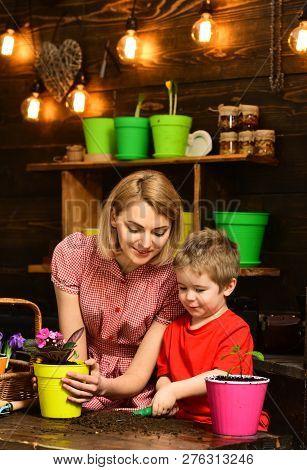 Nurture Concept. Little Child Help Mother Nurture Flower. Mother And Son Nurture Plant Growing. Nurt