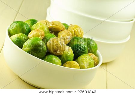 brussel sprouts, chestnuts and bacon