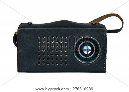 Old Soviet Radio In A Leather Case Isolated On White Background