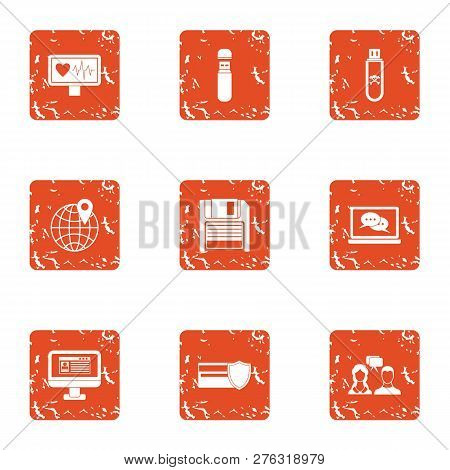Pay Attention Icons Set. Grunge Set Of 9 Pay Attention Icons For Web Isolated On White Background