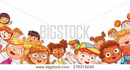 Group Of Multicultural Happy Children Waving At The Camera. Children Panorama For Your Design. Place