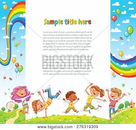 Kids Party Card Invitation. Happy Children Jumping Together A Sunny Day. Vector Illustration For Ban