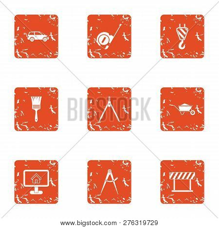 Commute Icons Set. Grunge Set Of 9 Commute Icons For Web Isolated On White Background