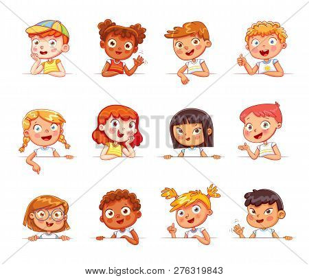 Cartoon Collection Of Little Kids Portraits. Children Of Different Nationalities And Various Gesture