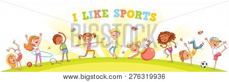 Children Are Engaged In Different Kinds Of Sports On Nature Background. Children Panorama For Your D