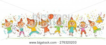 Birthday Party. Happy Kids Celebrating Birthday. Template For Advertising Brochure. Ready For Your M