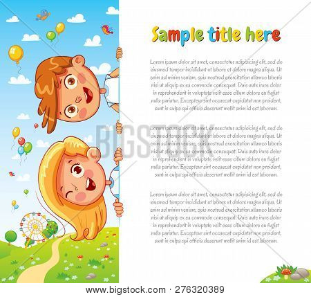 Design With Children And Summer Background. Happy Children Holding Blank Poster. Template For Advert