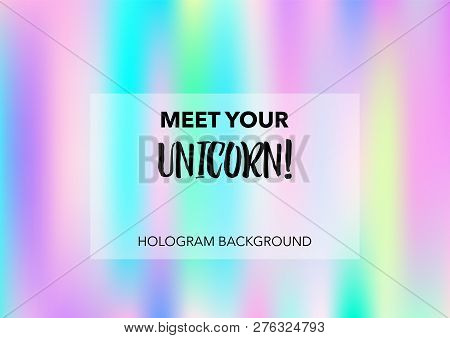 Girlie Hologram Gradient Vector Background. Luxury Trendy Tender Pearlescent Color Overlay. Rainbow