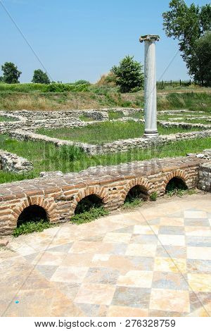 Ancient Greece City Dion. Column In Ruins Of House Of Dionysos. Archaeological Park Of Sacred City O