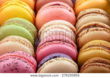 Set Of Different Multi-colored Macaroon Cookies. Colorful Almond Cookies, French Sweet Delicacy. Swe