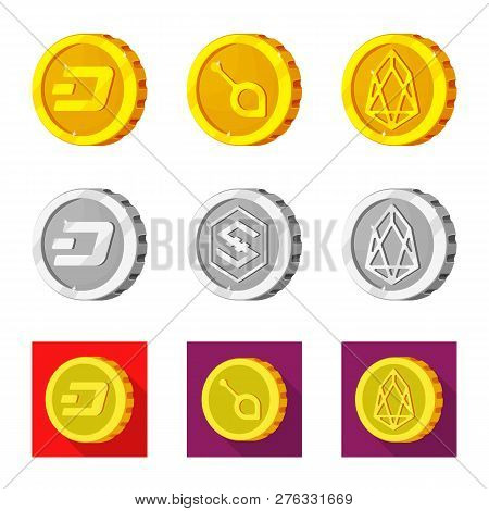 Vector Design Of Cryptocurrency And Coin Sign. Collection Of Cryptocurrency And Crypto Stock Vector