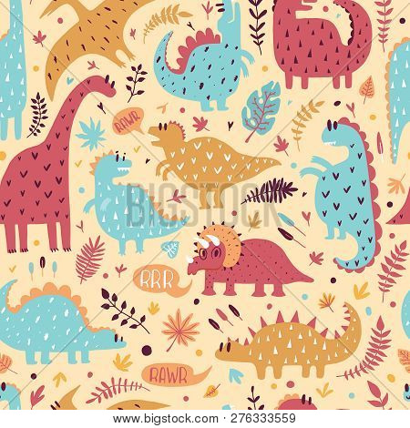 Seamless Pattern Of Cute Dinosaurs With Tropical Leaves. Hand Drawn Vector Illustration. Cute Design