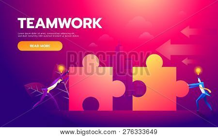 Business Teamwork Concept. Two Businessmen Connecting Puzzle Elements. Vector Illustration Flat Styl