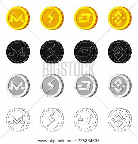 Isolated Object Of Cryptocurrency And Coin Logo. Set Of Cryptocurrency And Crypto Vector Icon For St