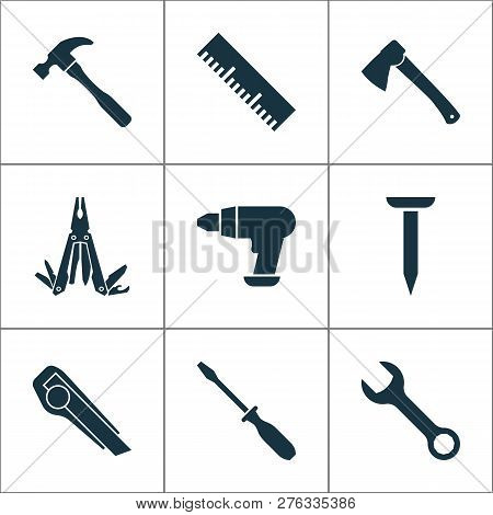 Tools Icons Set With Utility Knife, Multi Tool, Measurement And Other Ruler Elements. Isolated Vecto