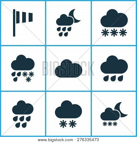 Weather Icons Set With Winter, Cloud, Snowy And Other Deluge Elements. Isolated Vector Illustration