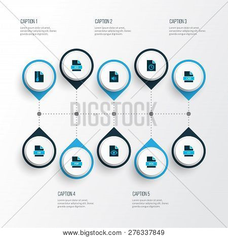 File icons colored set with temporary file, file audio, file pdf and other file doc elements. Isolated  illustration file icons. poster