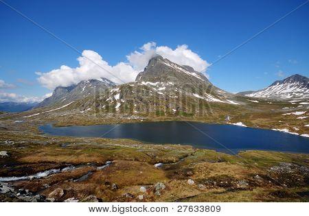 Beautiful mountain lake in Norway