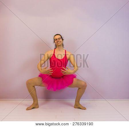 Young Transgender Girl Performing A Plie, Portrait Of A Lgbt Ballet Dancer