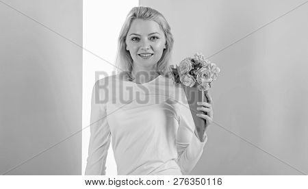 Feeling So Special. Girl Holding Bouquet Flowers Enjoy Favorite Fragrance. Lady Happy Received Favor