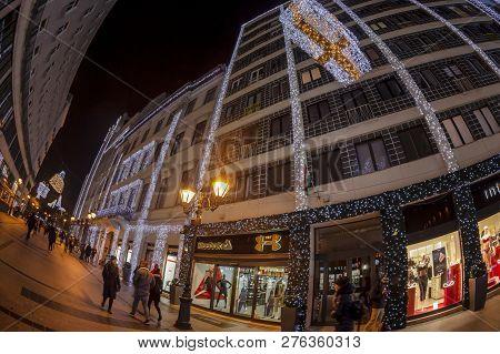 Budapest, Hungary - December 18, 2018: Famous Fashion Street (deak Ferenc Utca), Decorated For Chris
