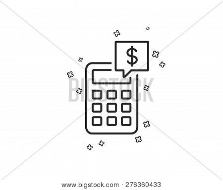 Calculator Line Icon. Accounting Sign. Calculate Finance Symbol. Geometric Shapes. Random Cross Elem
