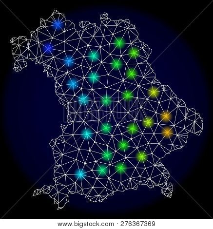 Mesh Vector Map Of Bavaria Land With Glare Effect. Light Spots Have Bright Spectrum Colors. Abstract