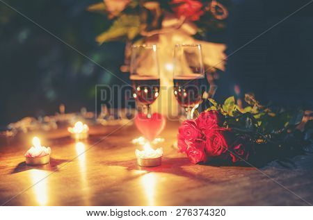 Valentines Dinner Romantic Love Concept Romantic Table Setting Decorated With Red Heart And Couple C