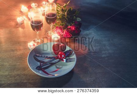 Valentines Dinner Romantic Love Concept Romantic Table Setting Decorated With Red Heart Fork Spoon O