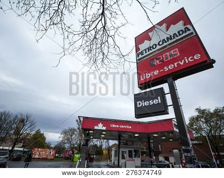 Montreal, Canada - November 6, 2018: Petro-canada Logo In Front Of One Of Their Gas Stations In Cana