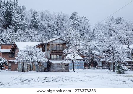 Gifu, Japan - December 2018 : Traditional House Gassho Style One Of Unesco World Heritage Sites In S