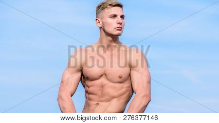 Muscular Masculine Guy Look Confident. Man Muscular Torso Stand Confidently. Sportsman Muscular Tors