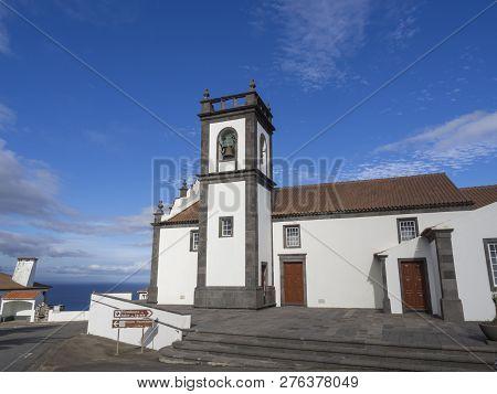 Front Facade Of Typical Azorean Church Of Igreja Da Nossa Senhora Da Anunciacao In Village Achada, S