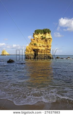Rocky southcoast in the Algarve near Lagos in Portugal