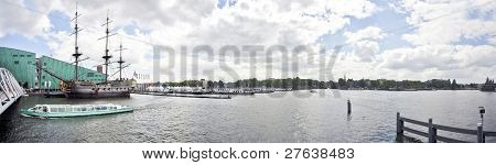 Panorama from Amsterdam with VOC ship in the Netherlands