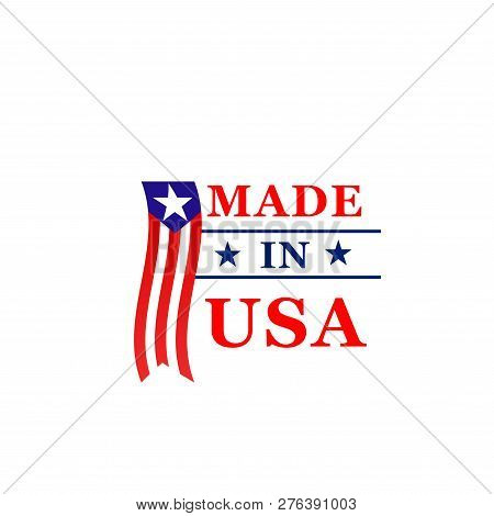 Made In Usa Best Quality Icon For Us Original Product Tag Design. Vector America Flag Star And Strip