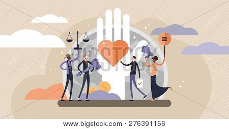 Human Rights Vector Illustration. Flat Tiny Equal And Variety Persons Concept. No Racism, Gender Or