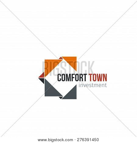 Letter C Icon For Construction Corporation Or Real Estate Investment Group. Vector Geometric Constru