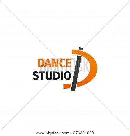 Letter D Icon For Dance Studio Or Pole Dancing Classes. Vector Line Symbol Of Letter D For Sport And