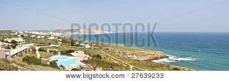 Panoramic view on Luz at the southcoast from Portugal