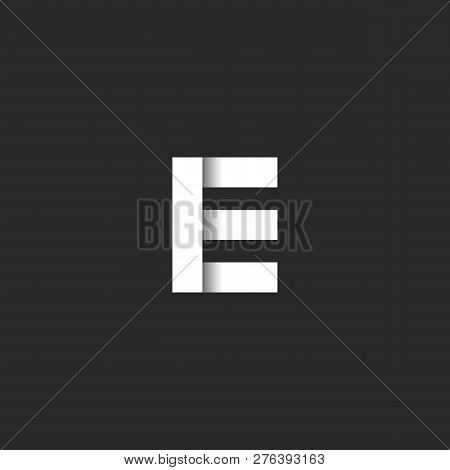Bold Letter E Logo Monogram Paper Cut Style, Business Card Simple Black And White Initial Emblem