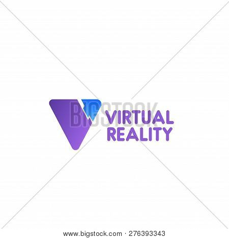 Virtual Reality Vector Sign Isolated On White Background. Abstract Badge For Virtual Reality Game Cl