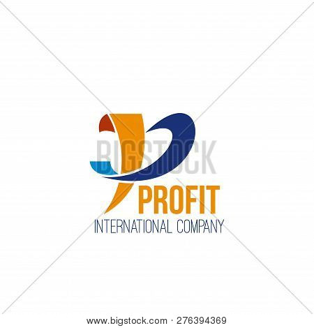 Profit International Company Vector Icon Isolated On A White Background. Creative Badge In Blue And