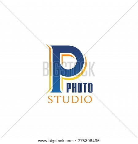 Photo Studio Icon Of P Letter Fro Professional Photography Workshop Or Masterclass. Vector Isolated
