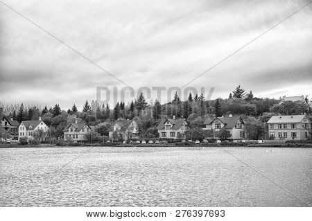 Water Surface Pond Scandinavian City. Pond Or Lake Nature Environment Destination. Pond Surrounded N