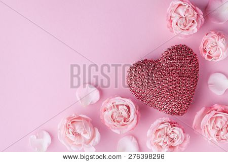 Beautiful Rose Flowers And Heart On Pink Background. Greeting Card For Womens Day Or Valentines Day.