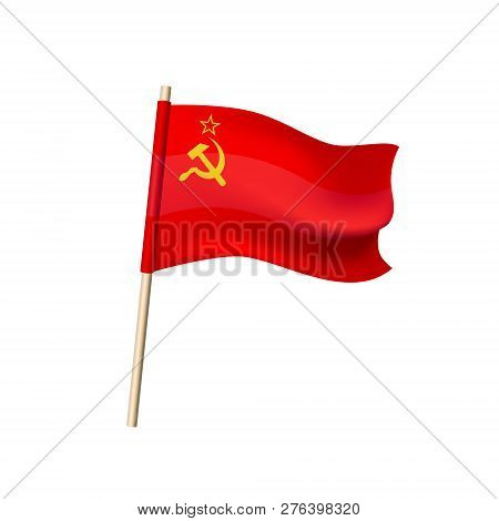 Vector Flag Of Ussr. Hammer And Sickle On A Red Background. Soviet Union Sign