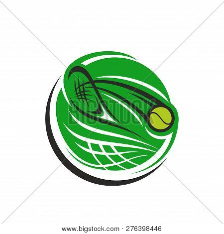 Abstract Vector Icon With Tennis Racket And Ball. Creative Emblem In Green Color For Tennis Club Or