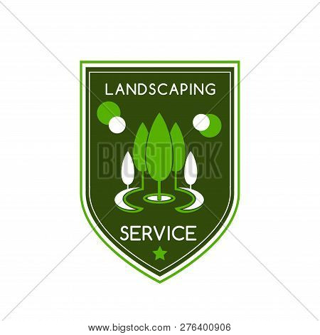 Landscaping Design Service Icon Of Green Trees In Park For Green Landscape Designing Company. Or Hor