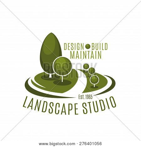 Landscape Studio Green Park Trees Icon For Landscaping Build, Maintain And Design Service. Vector Pa